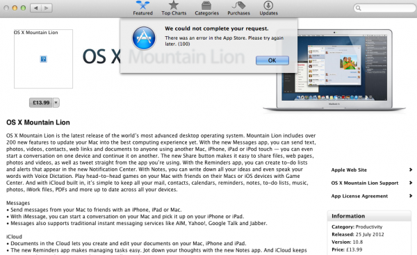 Apple Mountain Lion Day – Errors are a pain